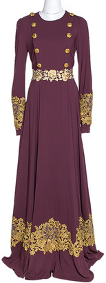Dolce & Gabbana Bordeaux Stretch Crepe Lurex Lace Trim Gown M