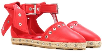 Alexander McQueen Embellished leather espadrilles