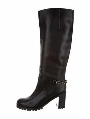 Christian Louboutin Chain-Link Accent Leather Riding Boots Black