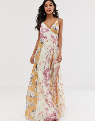 Asos Design DESIGN maxi dress in mixed floral prints with cross over neck and lace trims-Multi