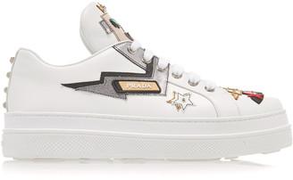 Prada Appliqued Leather Platform Sneakers