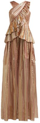 Peter Pilotto Striped Lame-chiffon Gown - Womens - Bronze