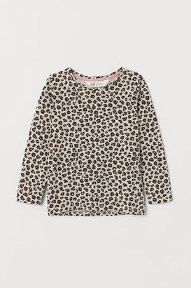 H&M Cotton Top with Printed Design - Beige