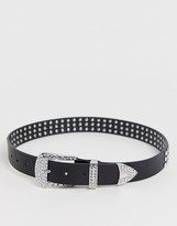 Asos Design DESIGN rhinestone western buckle waist and hip belt