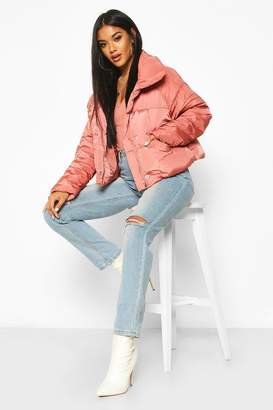 boohoo Cropped Panelled Funnel Neck Puffer