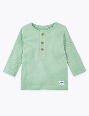 Marks and Spencer Cotton Grandad Collar Top (0 -36 Mths)
