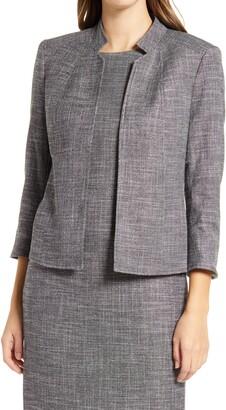 Anne Klein Stand Collar Tweed Blazer