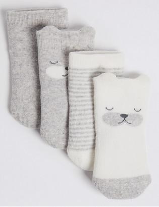 Marks and Spencer 4pk of Bear Terry Baby Socks (0-12 Mths)