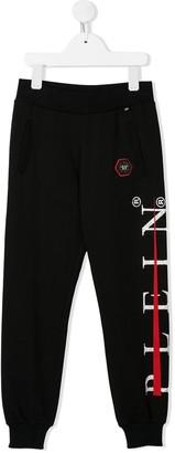 Philipp Plein Junior side logo print track trousers