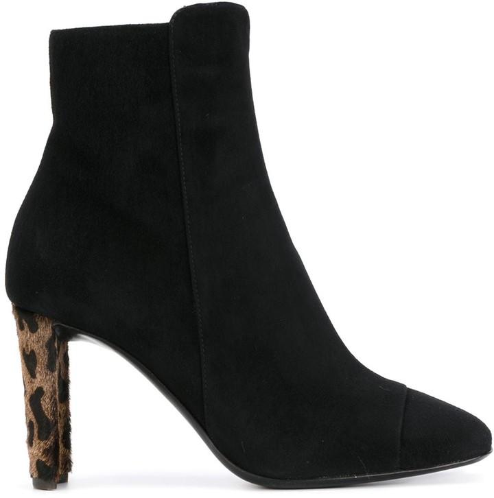 Black Boots Leopard Print Heel | Shop