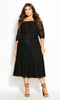 City Chic Time Lace Dress - black