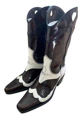 Ganni White Leather Boots