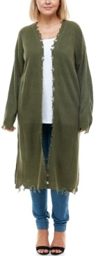 Planet Gold Trendy Plus Size Destructed Cardigan