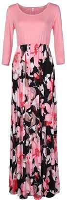 C&T Women's Casual Print Vintage Short Sleeve Long Boho Maxi Beach Dresss Ladies Summer O-Neck A-Line Long Plus Size Holiday Dress Evening Party Maxi Dress Pink