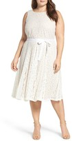 Gabby Skye Plus Size Women's Floral Lace Fit & Flare Dress