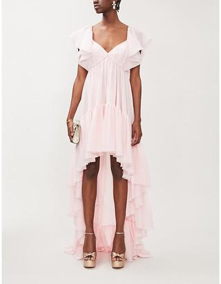 Giambattista Valli Asymmetric frilled silk-chiffon gown