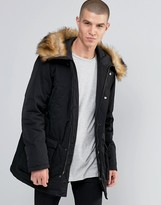 Armani Jeans Parka With Faux Fur Trim In Black
