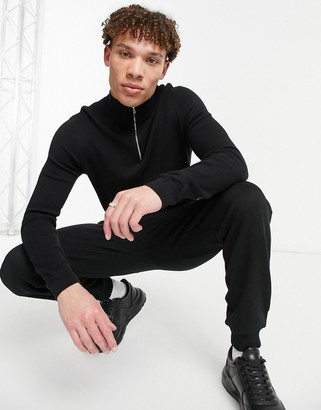 ASOS DESIGN midweight half zip jumper in black