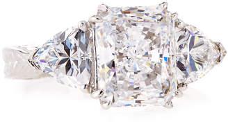 FANTASIA Emerald & Trillion-Cut Clear CZ Crystal Ring, Sizes 6-8