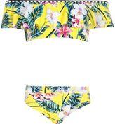River Island Girls yellow tropical bardot frill bikini