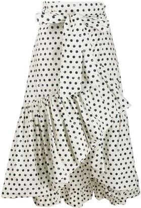 Pinko Polka-Dot Print Wrap Midi Skirt