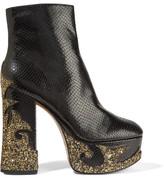 Marc Jacobs Stasha Glitter-appliquéd Snake-effect Leather Platform Boots - Black