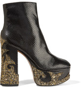 Marc Jacobs Stasha Glittered Snake-effect Leather Platform Boots - Black