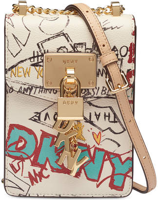 DKNY Elissa Graffiti Logo Pebble Leather Charm Crossbody