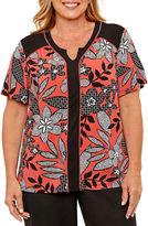 Alfred Dunner Saratoga Springs Short Sleeve Floral Leaf T-Shirt-Womens Plus
