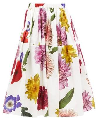 Sara Lanzi Floral-print Cotton-poplin Skirt - Womens - White Multi