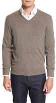 Neiman Marcus Cashmere V-Neck Sweater, Ash