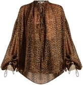 Saint Laurent Etamine tie-neck leopard-print blouse