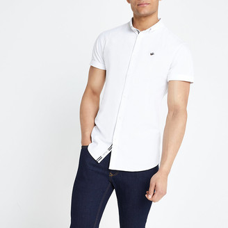 River Island White muscle fit short sleeve Oxford shirt