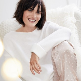 The White Company Double-Faced Jumper with Cashmere, Porcelain, Extra Small