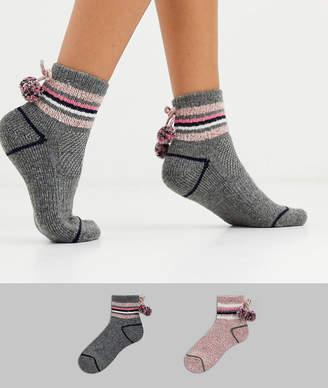 Original Penguin Penguin soft socks with pom pom in twist pink cream-Multi