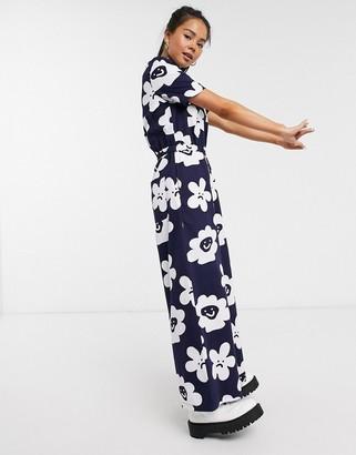 Lazy Oaf wide leg jumpsuit in daisy print