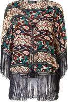 Aztec print chiffon tassel kimono jacket
