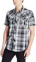 Southpole Men's Plaid Woven Short Sleeve Shirt with Non Contasting Patterns