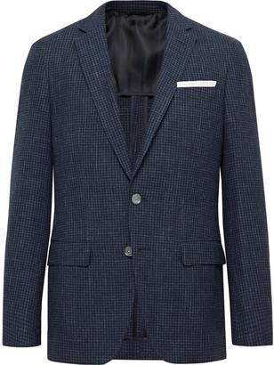 HUGO BOSS Navy Hartley Slim-fit Checked Wool, Cotton And Linen-blend Blazer - Blue