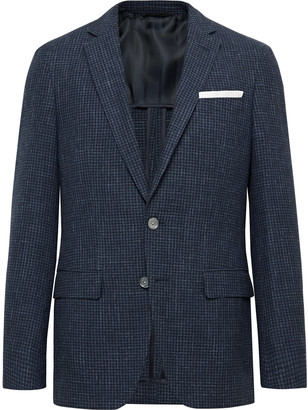 HUGO BOSS Navy Hartley Slim-Fit Checked Wool, Cotton And Linen-Blend Blazer