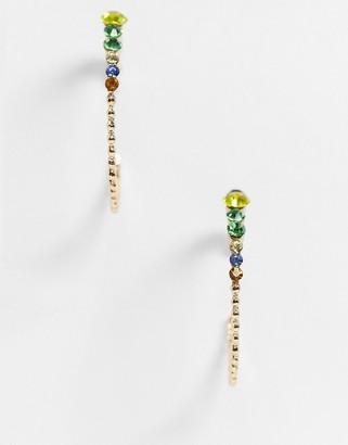 Vero Moda large multi coloured diamante hoops in gold