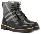 Burberry Shearling-Lined Checked Felt and Leather Boots