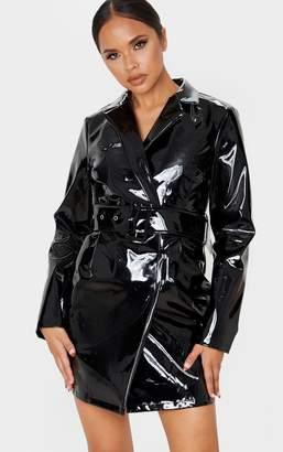 PrettyLittleThing Black Vinyl Long Sleeve Belted Blazer Dress