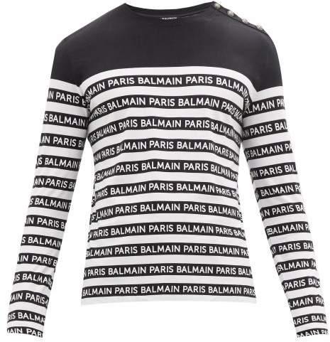 Balmain Logo-printed Striped T-shirt - Mens - Black White
