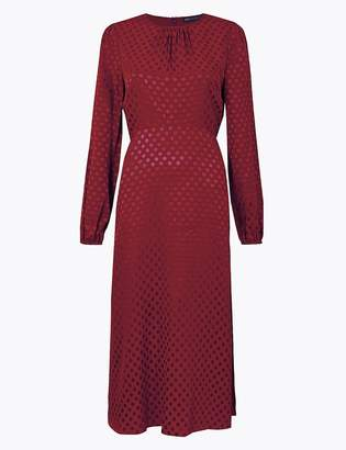 Marks and Spencer Jacquard Spot Fit & Flare Midi Dress