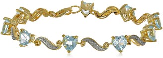 Amazon Collection Yellow Gold Flash Plated Sterling Silver Wave Heart Sky Blue Topaz Diamond Bracelet