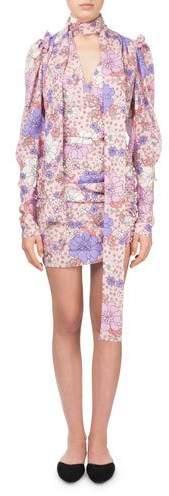 Magda Butrym Kartagena Long-Sleeve Floral-Print Ruched Silk Dress