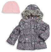 Hawke & Co Girls 2-6x Faux Fur Trimmed Puffer Coat and Hat Set