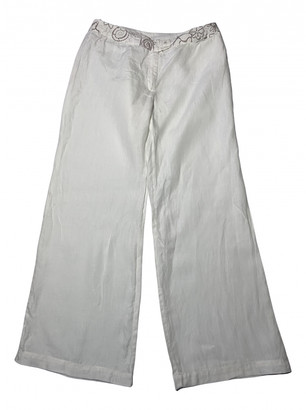 120% Lino White Linen Trousers for Women