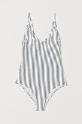H&M V-neck Swimsuit - White